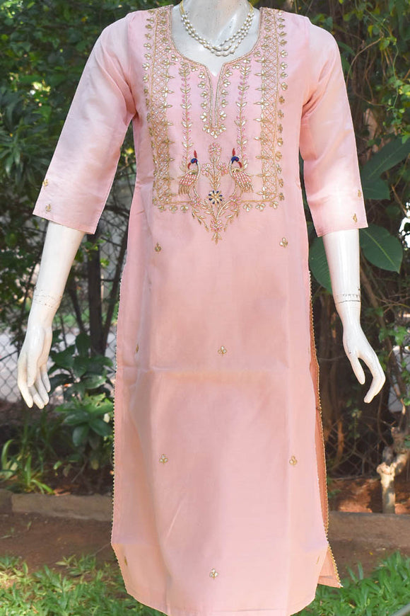 Elegant Chanderi Kurta with Hand Embroidery - size 38