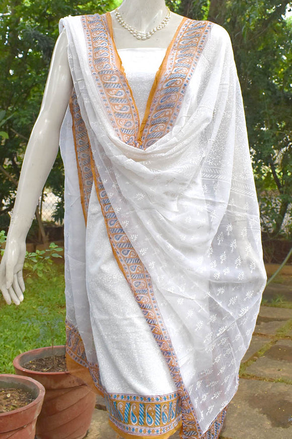 Block Printed Cotton Unstitched Suit