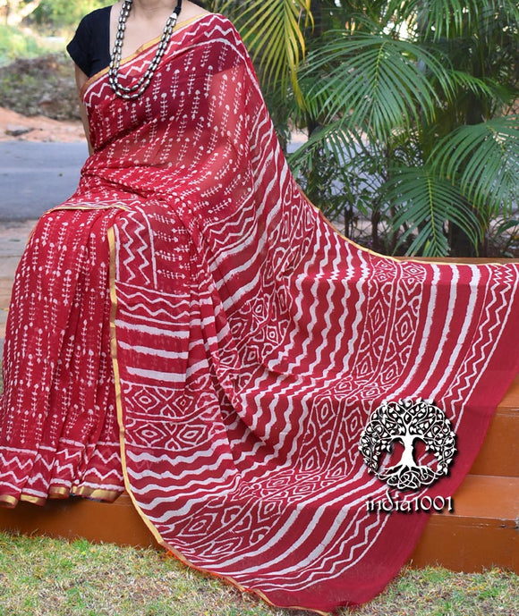 Beautiful Hand Block printed Chiffon Saree with zari border