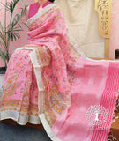Elegant Block/ Screen printed Linen sarees