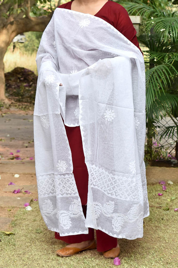 Hand Embroidered Lucknow Chikankari work Kota Doria Dupatta - Milky White color