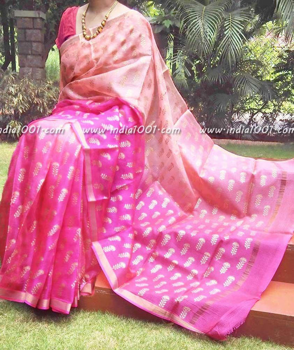 Elegant Kota Silk Saree with Khari (gold) block print
