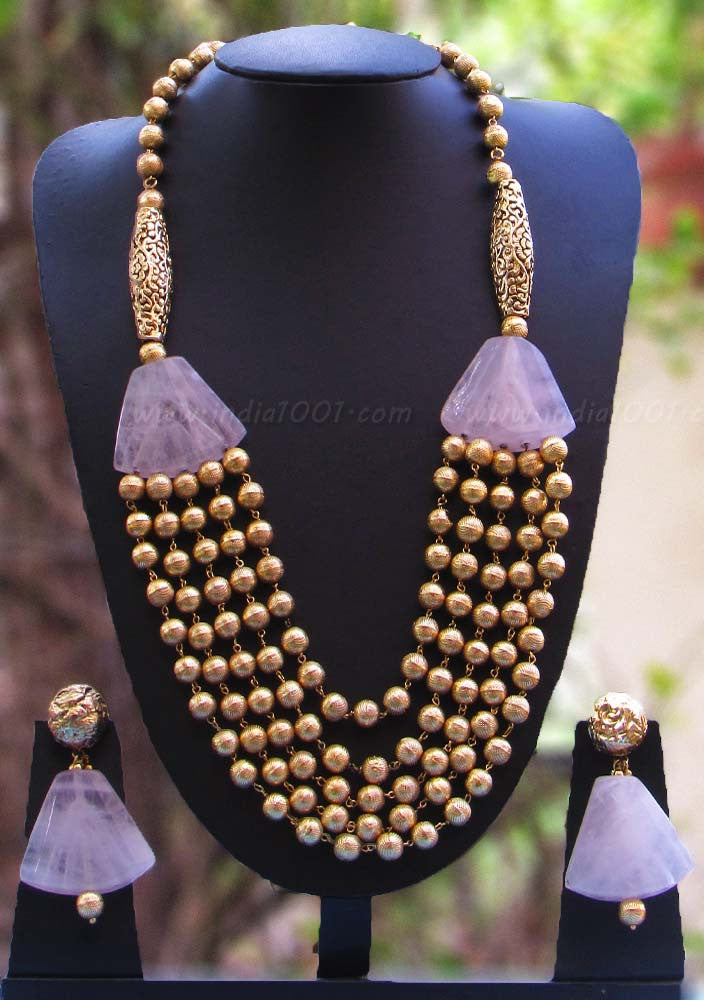 Elegant Bead, Pearl & Polki Necklace Set