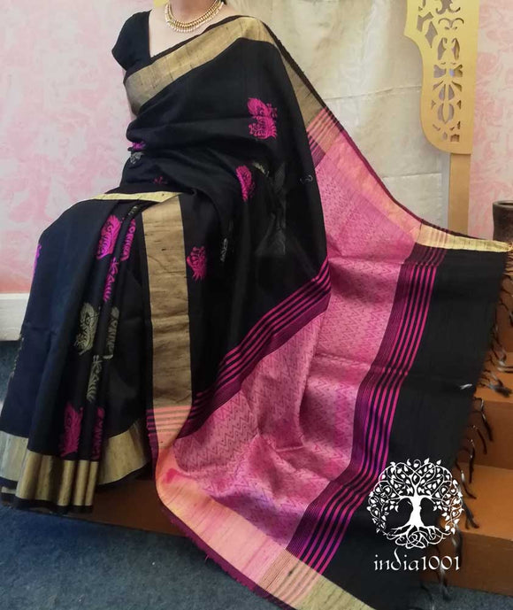 Beautiful Raw Silk Saree with woven allover motifs