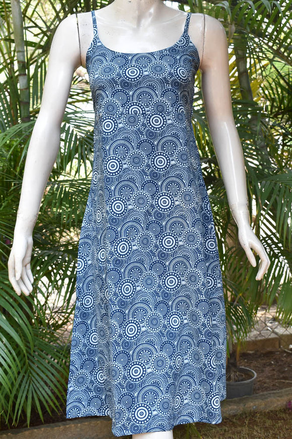 Elegant Block Printed Cotton dress with adjustable shoulder strap length