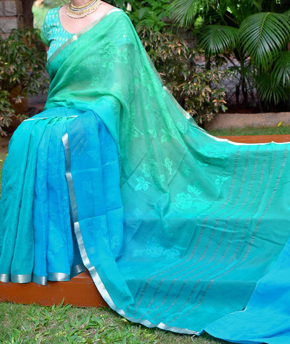 Elegant Pure Chiffon Saree with Machine Embroidery