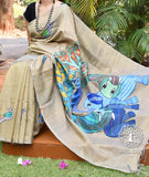Fine and Elegant Handpainted Gond Art Si-Co saree