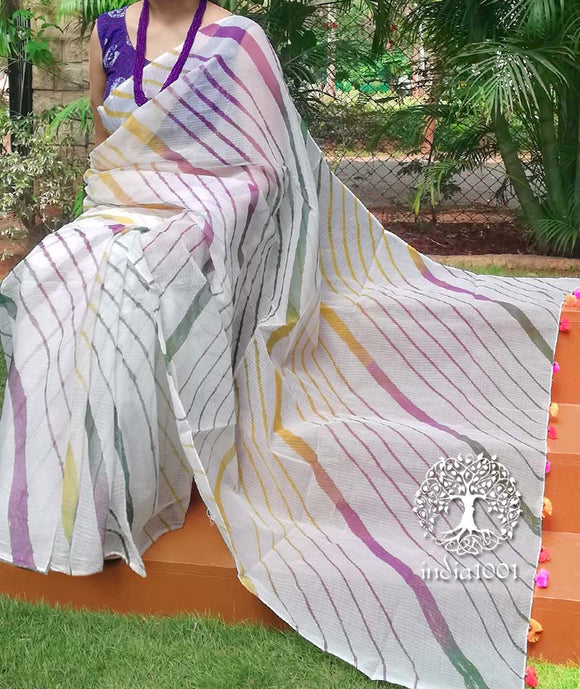 Elegant Kota cotton Saree with Hand dyed Leheriya pattern & Tassels