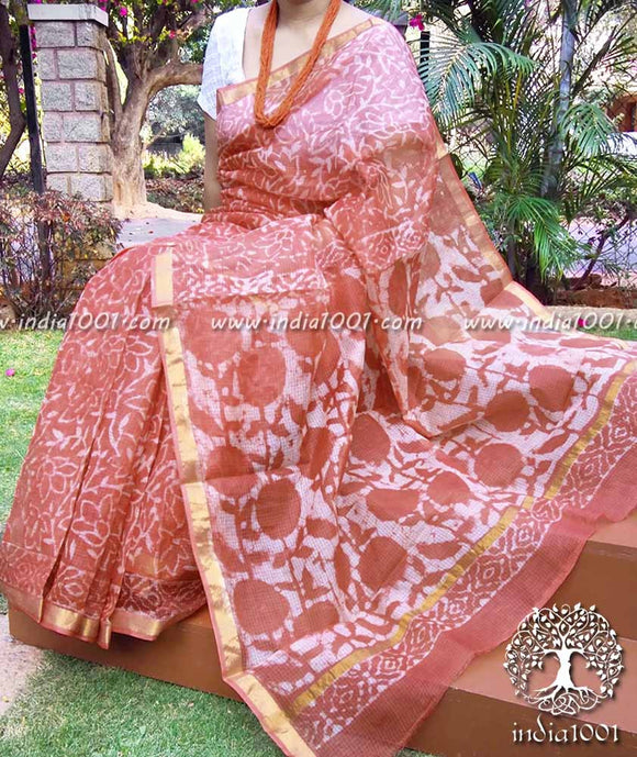 Elegant Kota Silk Saree with Dabu block print