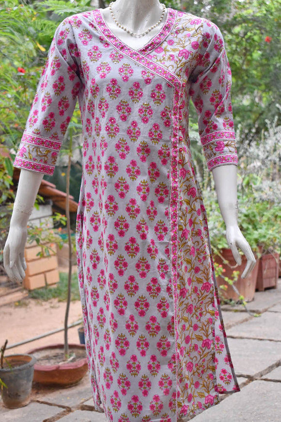 Block Printed Cotton Kurta with sequins