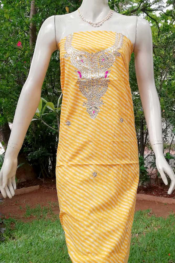Cotton Kurta fabric with Hand Embroidery, gota/mirror work