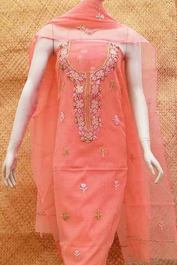 Kota Dupatta & Kurta with Embroidery