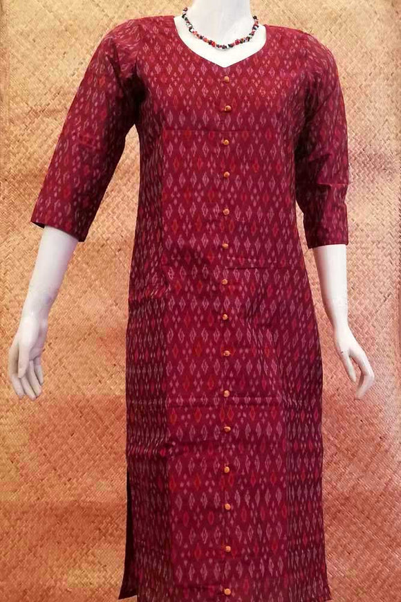 Elegant Ikkat Silk cotton long Kurta