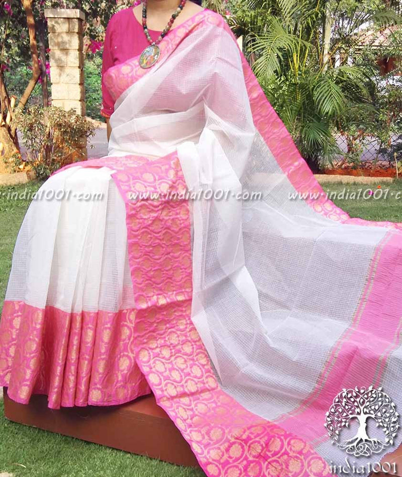 Elegant Kota Cotton Saree with Woven borders