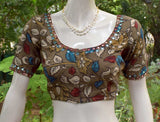 Hand Painted Kalamkari Blouse with mirror work  - size  40 , 42