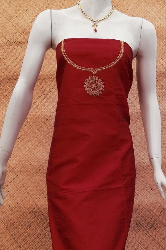 Hand Embroidered Dupion Silk kurta fabric