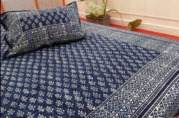 Hand block printed Bed sheet with pillow covers