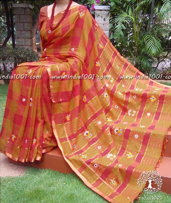 Elegant Kutch Hand embroidered Cotton Saree