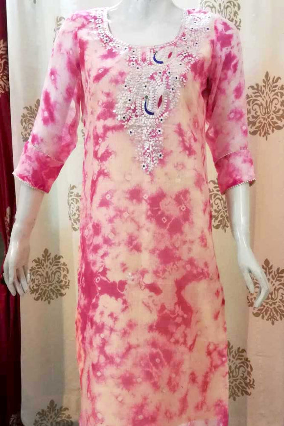 Elegant Kota Silk kurta with Hand embroidered Pitta & gota work - Size 40