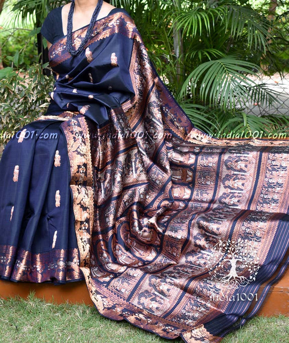 Exquisite Pure silk Handcrafted Swarnachari saree with Minakari weave