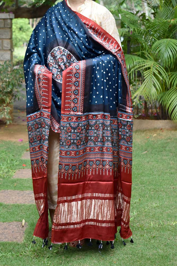 Beautiful Bandhani Ajrakh Modal Silk Dupatta with Tissue Palla