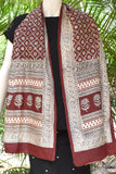 Beautiful Silk stole with Bagh Hand Block Print