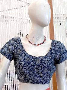 Block Printed cotton Blouse - Size 40
