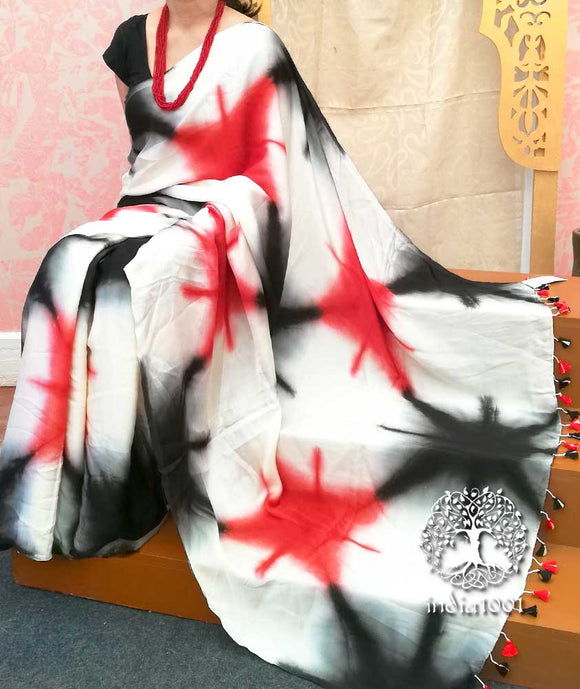 Hand Crafted Shibori Tie & Dye/ Clamp Dyed Modal Silk saree