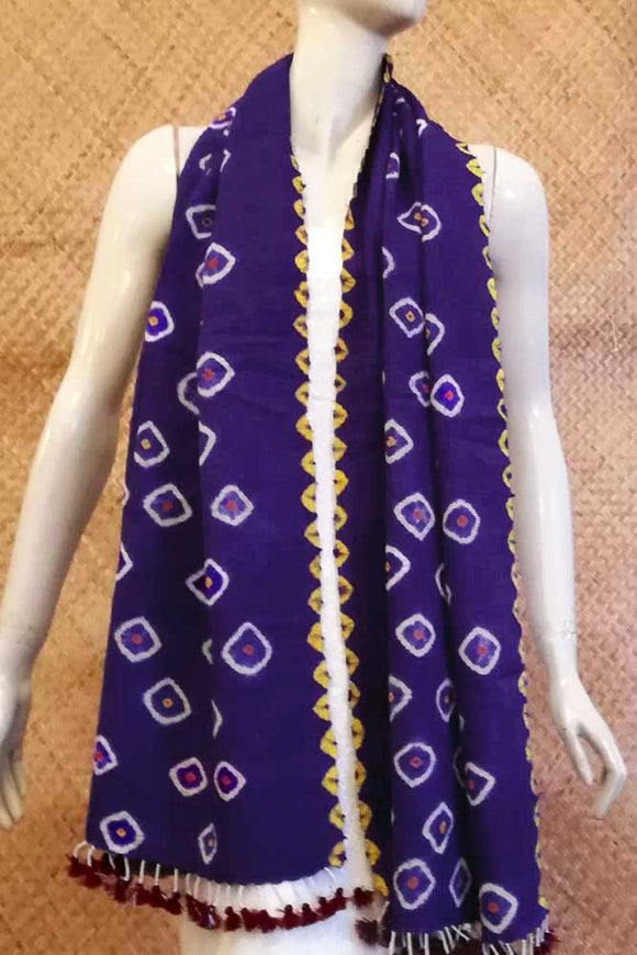 Pure Wool X Silk Tie & Dye Bandhani Stole from Kutch
