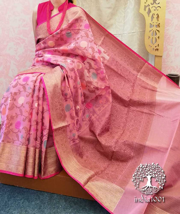 Beautiful Woven Himroo Cotton Saree with zari border & blouse