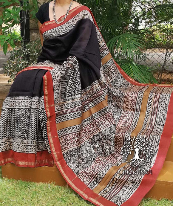 Elegant Chanderi Saree with Bagru Block Printing