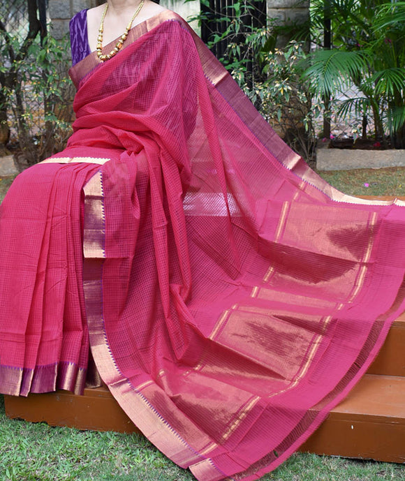 Elegant Handwoven Mangalgiri Cotton Saree with Colored thread &  Zari border