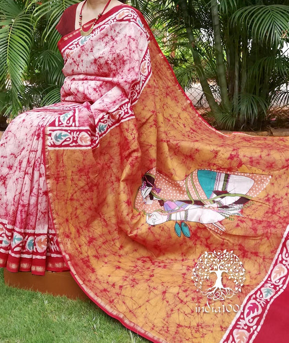 Beautiful Maheshwari Saree with Batik work