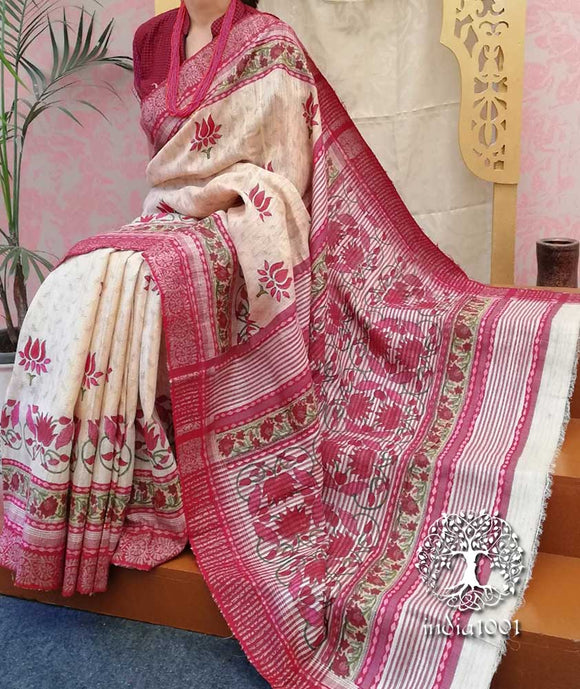 Elegant Geecha Silk Saree with Mughal Art Patterns