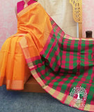 Beautiful Kora Silk Cotton saree with Zari borders