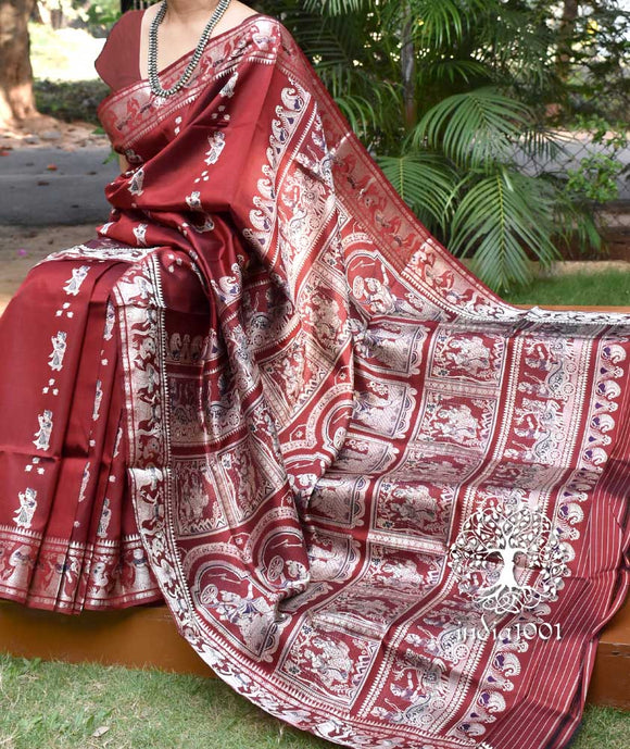 Exquisite Pure silk Handcrafted Baluchari saree with Minakari weave