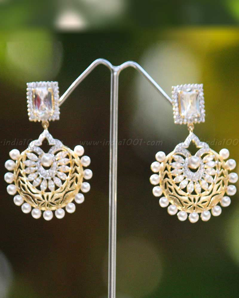 Elegant AD & Pearl Earrings