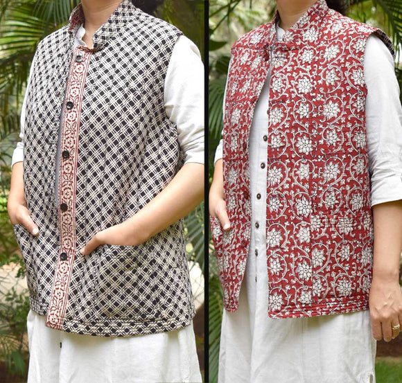 Bagh Block Print Quilted Reversible Sleeveless cotton jacket - Size 42