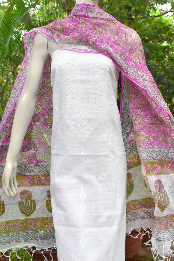 Block Printed Kota Dupatta with embroidered Chikankari kurta fabric
