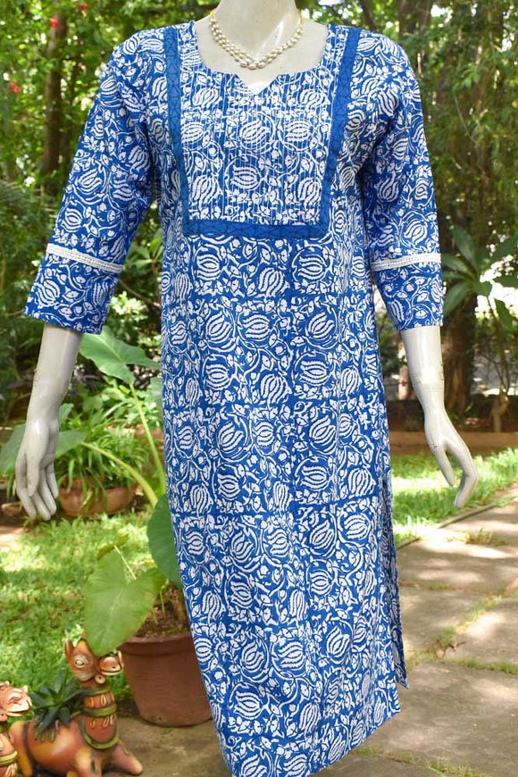 Hand Block Printed Cotton Kurta with thread work