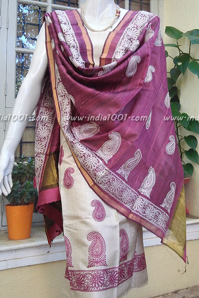 Tussar and dupion Silk kurta and dupatta