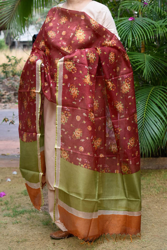 Beautiful Kota Silk Dupatta with floral print