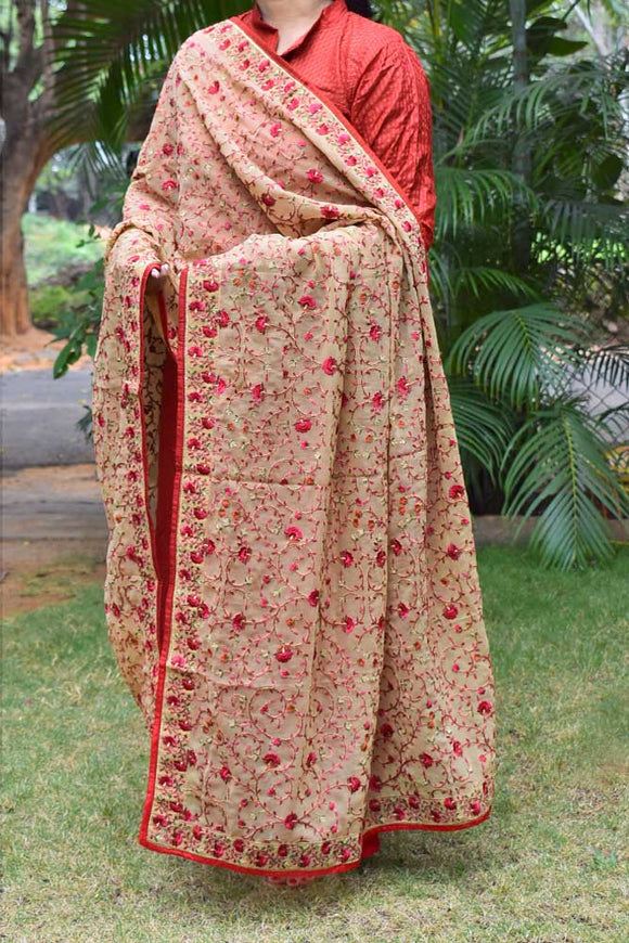 Embroidered Georgette dupatta with stitched borders