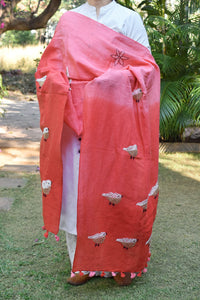 Elegant  shaded Linen dupatta / stole with Hand Embroidery & Tassels
