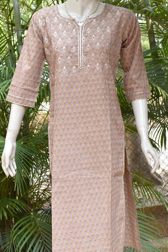 Block Printed Cotton Kurta with Embroidery & Gota work