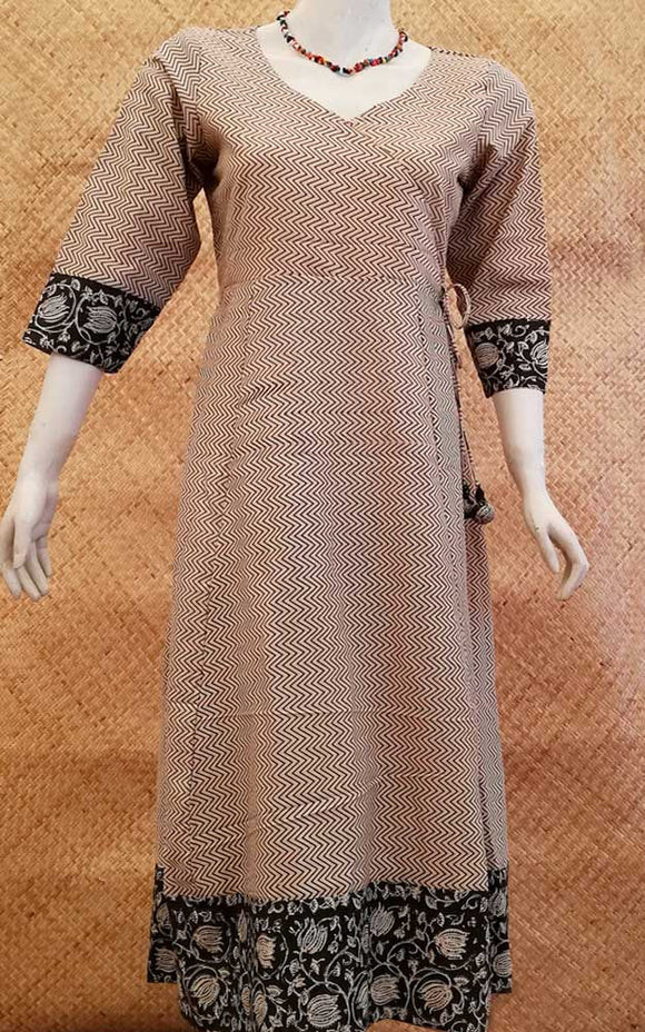 Elegant Long Cotton kurta/ dress with side Tie up