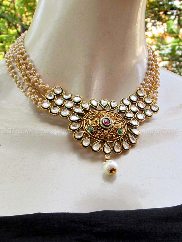 Designer Kundan, Polki & Pearl Necklace Set