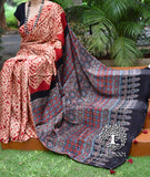 Beautiful Hand-Crafted Modal Silk Ajrakh & Shibori Saree