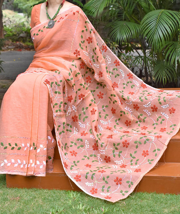 Elegant Kota cotton saree with Aari & Applique Phool Patti work