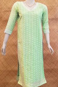 Elegant Cotton kurta with embroidery and block print